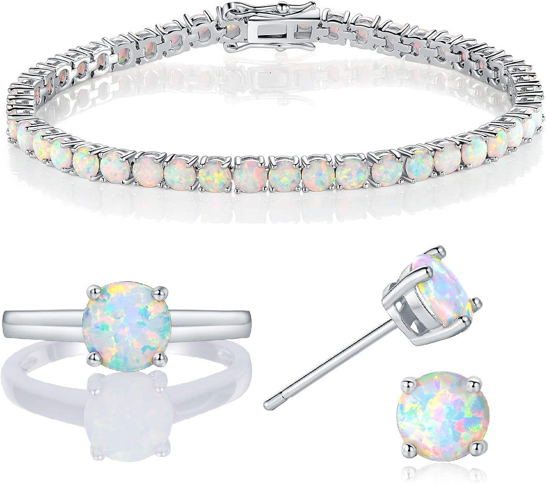 18k White Gold Plated Opal Tennis Braceelet/Earrings/Rings Created Jewelry Sets for Women (5)