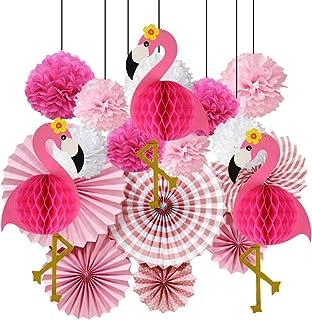 Farolillos de papel con diseño de flamenco rosa tropical, decoración de panal, pompones de papel, flores, papel de seda, para fiesta hawaiana de verano, playa, fiesta luau
