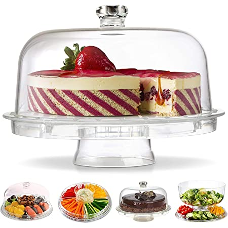 Gijaxe 3-in-1 Acrylic Cake Stand with Dome Cover Lid Multi-Functional Serving Platter and Cake Plate - Use as Cake Holder,Salad Bowl,Punch Bowl,Veggie,Desert Platter,Nachos,Salsa Plate(6 Uses)