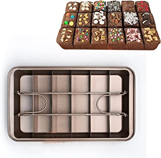 MZCH Non-Stick Pan Tin, Heavy-Duty Divided Brownie Tray, 18-Cavity, 12 by 8 inches, Dark Brown