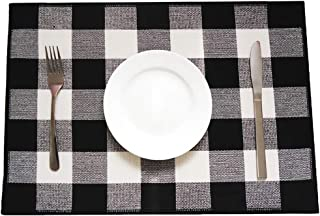 Buffalo Plaid Placemats Set of 4 Cotton Black & White Checkered Washable Place Mats for Kitchen/Dinning Table Farmhouse Table Decor
