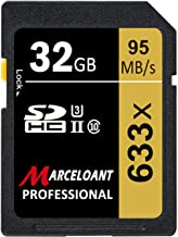 32GB SD Card, Marceloant Professional 633 x Class 10 SDHC UHS-II U3 SD Card Compatible Computer Cameras and Camcorders, SD Memory Card Up to 95MB/s, Yellow/Black (32GB)