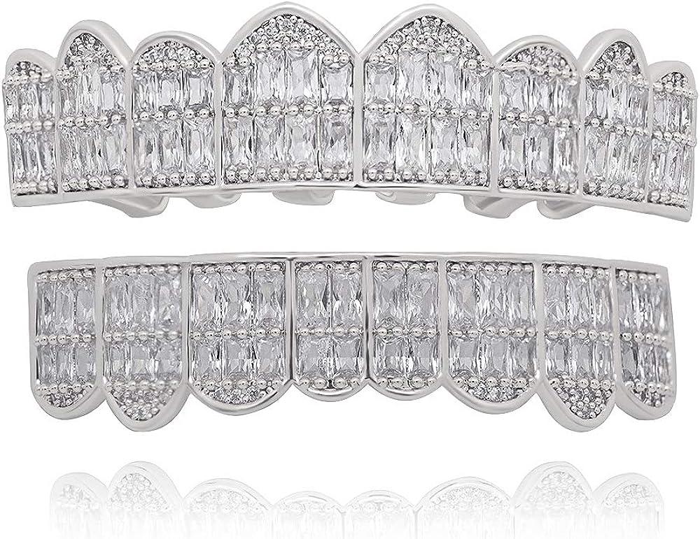LuReen Gold Teeth Grillz Square Pave CZ 8 Teeth Top Bottom Man Women Grillz Diamonds Grillz+ 2 Extra Molding Bars