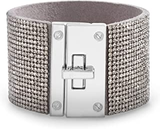 Steve Madden Rhinestone Lock Design Wrap Bracelet For Women