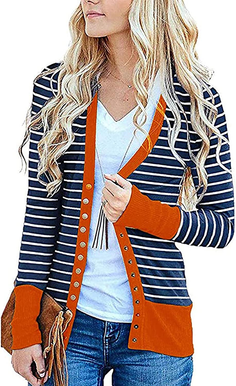 KIRJAUDU Women's Leopard Print Long Sleeve Cardigan Snap Button Jacket Casual Color Block V-Neck Outwear