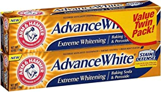 ARM & HAMMER Advance White Extreme Whitening Baking Soda and Peroxide Toothpaste, Fresh Mint, Twin Pack 6 oz (Pack of 7)
