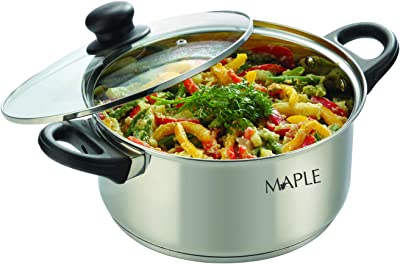 Maple Buckingham Stainless Steel Ultra Cook N Serve Sauce Pot with Glass Lid- 24 cm, 5 LTR