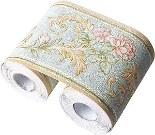 Umora トリムボーダー 壁紙シール 防水壁紙 ウォールステッカー 3D (薄グリーン 藤花)