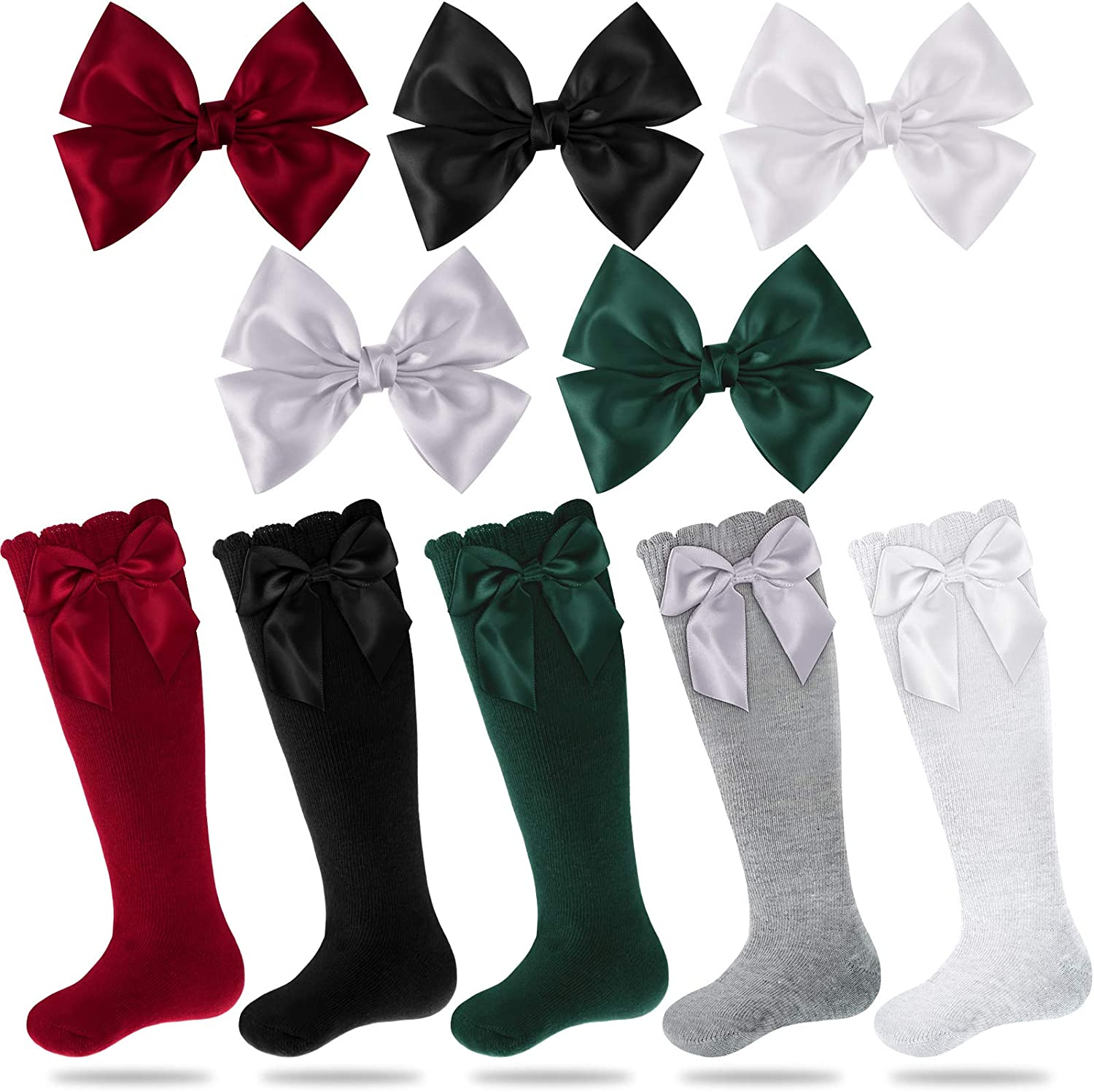 5 Pairs Baby Girl Colorful Bowknot Knit Cotton High Socks with 5 Pieces Satin Ribbon Bowknot Hairpin for Girls Accessories