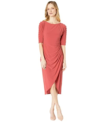 Maggy London Crystal Crepe Wrap Sheath Dress with Novelty Sleeve Buttons (Amaryllis) Women