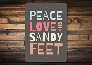 "8"" x 12"" Tin Sign, Metal Sign, Sandy Feet Sign Peace Love Sign Peace Sign Sandy Feet Beach Sign Beach Lover Gift Peace Decor Love Decor Quality Metal"