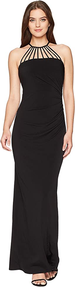 Laundry by Shelli Segal Jersey Gown with Multi Strap Detail