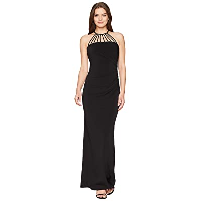 Laundry by Shelli Segal Jersey Gown with Multi Strap Detail (Black) Women