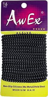 AwEx No Slip Black Hair Ties, 16 PCS,4 mm Regular Loop Hair Elastics,Active Ponytail Holder,Sports Hair Bands