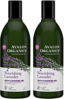 Avalon Organics Lavender Bath and Shower Gel, 12-Ounce Bottle (Pack of 2)