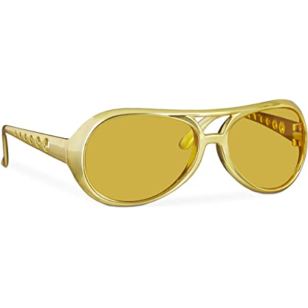 Relaxdays 10024248, Golden, Funny Rapper and Pimp Glasses, Fancy Dress Accessory for Mardis Gras and Theme-Parties, Unisex Adult, H x W x D: app. 5 x 14 x 16 cm