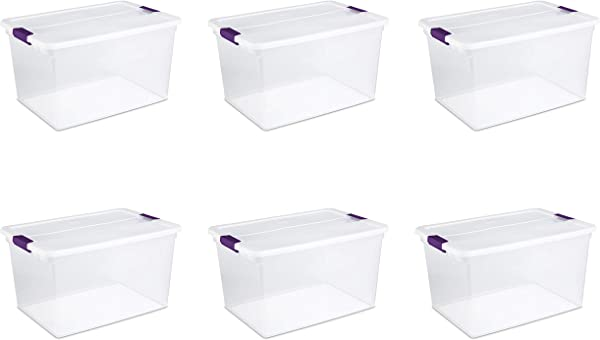 Sterilite 17571706 66 Quart 62 Liter ClearView Latch Box Clear Lid Base W Sweet Plum Latches 6 Pack