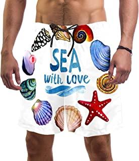 Mens Swim Shorts Waterproof Quick Dry Beach Shorts with Mesh Lining,The Oceans and Animals You Love