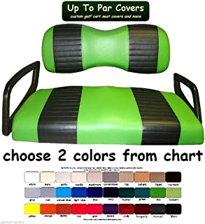 Yamaha Drive Custom Golf Cart Front Seat Cover Set PLUS Rear Seat Cover Set Combo - TWO STRIPE STAPLE ON