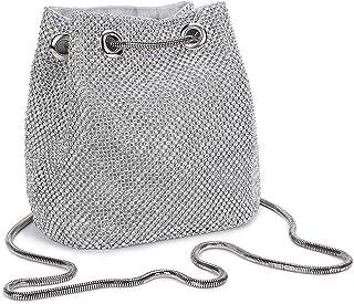 Damen Abendtasche Clutch Umhängetasche Kleine Pailletten Handtasche Schultertasche Kette Tasche für Hochzeit Party Disko - Silber