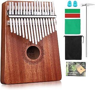 Kalimba 17 Keys Thumb Paino Made By Solid Sabilli with Study Instruction and Tune Hammer, Portable Mbira Sanza African Woo...