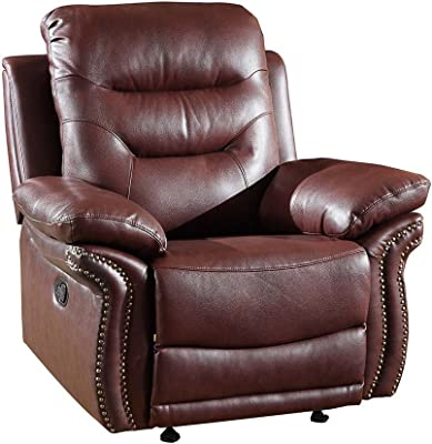 Blackjack Furniture The Andrews Collection Reclining Living Room Leather Rocking Armchair, Burgundy