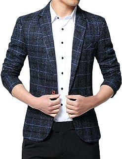 FSSE Men's Business Slim Fit 1 Button Casual Plaid Dress Blazer Jacket Sport Coat