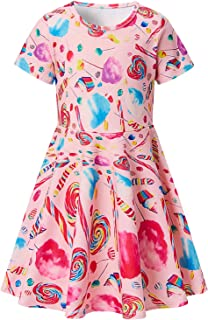 RAISEVERN Girl`s Short Sleeve Dress Casual Swing Skirt for Theme Holiday Party