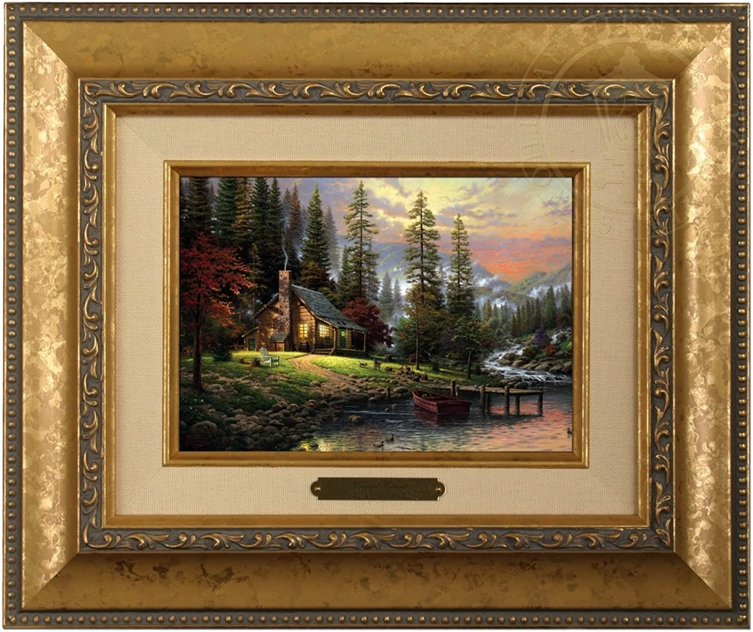 Thomas Kinkade Peaceful Retreat Brushwork (gold Frame)