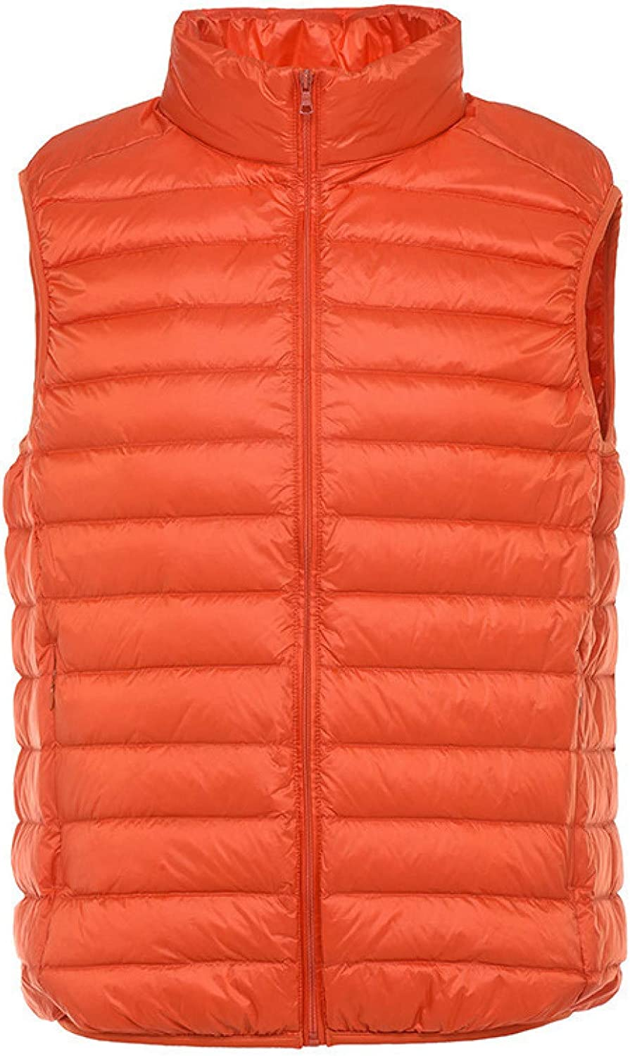 Men Packable Lightweight Puffer Vest Water-Resistant Polyester Thickened Warm Sleeveless Jackets Gilet for Outdoor Travel