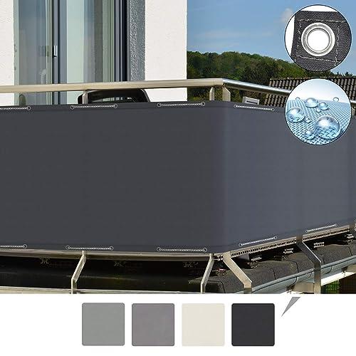Sol Royal SolVision Protección Visual PB2 PES Pantalla Opaca 500x90 cm Antracita balcón privacidad con Ojales