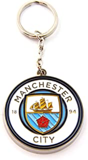 Manchester City FC Official Metal Football/Soccer Crest Keyring