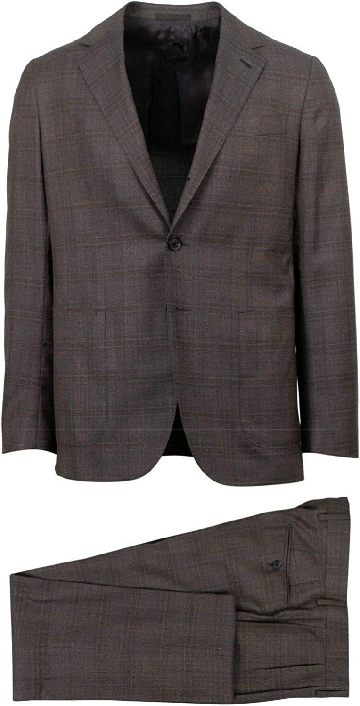Caruso Men's Plaid Wool 3 Roll 2 Button Slim Fit Suit 48/ Drop 8 38 Brown