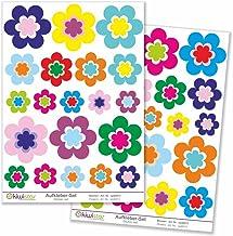 Kiwistar 40-delige bloemenset decoratie, muurstickers set boogstickers gekleurd DIN A4Totale oppervlak: Bogengröße_A1 ca. ...