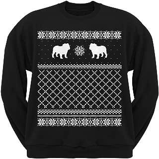 Bulldog Black Adult Ugly Christmas Sweater Crew Neck Sweatshirt