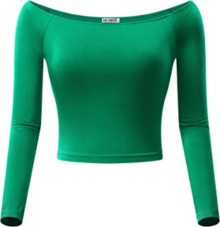HUHOT Womens Basic Off-Shoulder Long Sleeve Cami Crop Top Fitted Shirt