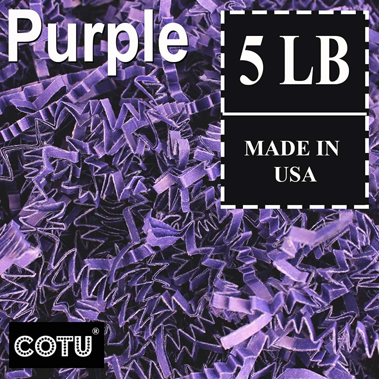COTU (R) 5 LB Purple Crinkle Shred Gift Basket Shred Crinkle Paper Filler Bedding (80 oz) in a Box