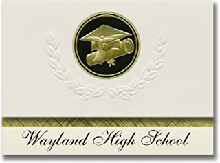 Signature Announcements Wayland High School (Wayland, MA) Graduation Announcements, Presidential style, Elite package of 2...