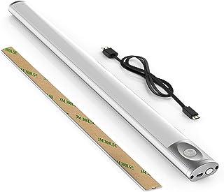 Regleta led con USB y sensor de movimiento 44cm,Blanco Frío 6000K, Pantalla Carcasa, Iluminación de pared con tira magnética pegada, Luz de camping, lámpara de carpa de B.K.Licht