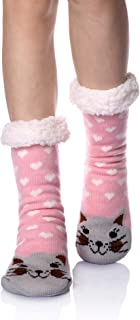 Women's Super Soft Warm Winter Animal Fuzzy Fleece Lined Crew Slipper Home Socks
