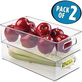 mDesign Zestaw 2-częściowy pojemników na lodówkę – możliwość układania w stos pojemników do przechowywania żywności – prak...