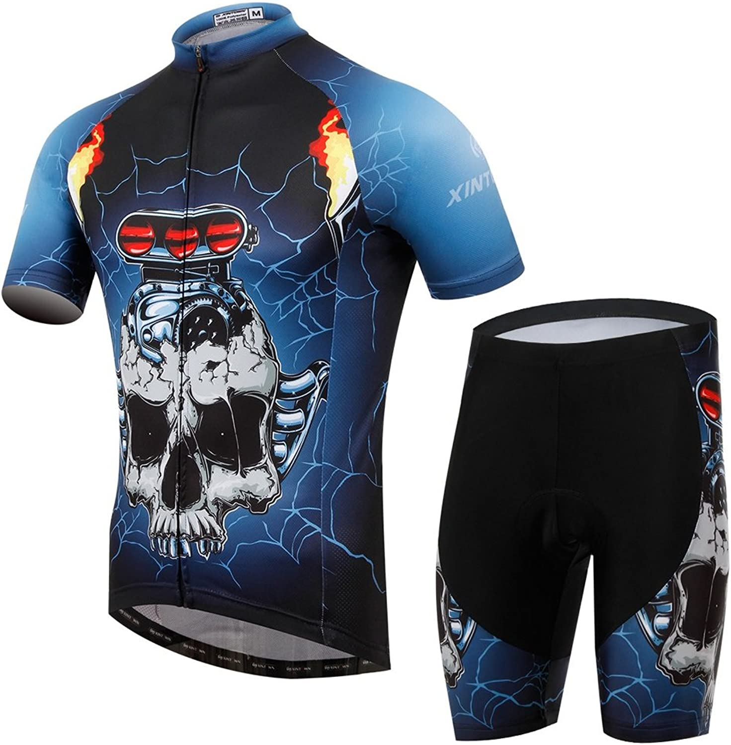 Pinjeer Breathable Summer Men's Cycling Jersey Clothing blueee Main color with Skull Pattern Printing Outdoors Bicycle Riding Dresses,Quick Dry Team Jersey Men & Boys Shorts Prime Shorts Sets for Racin