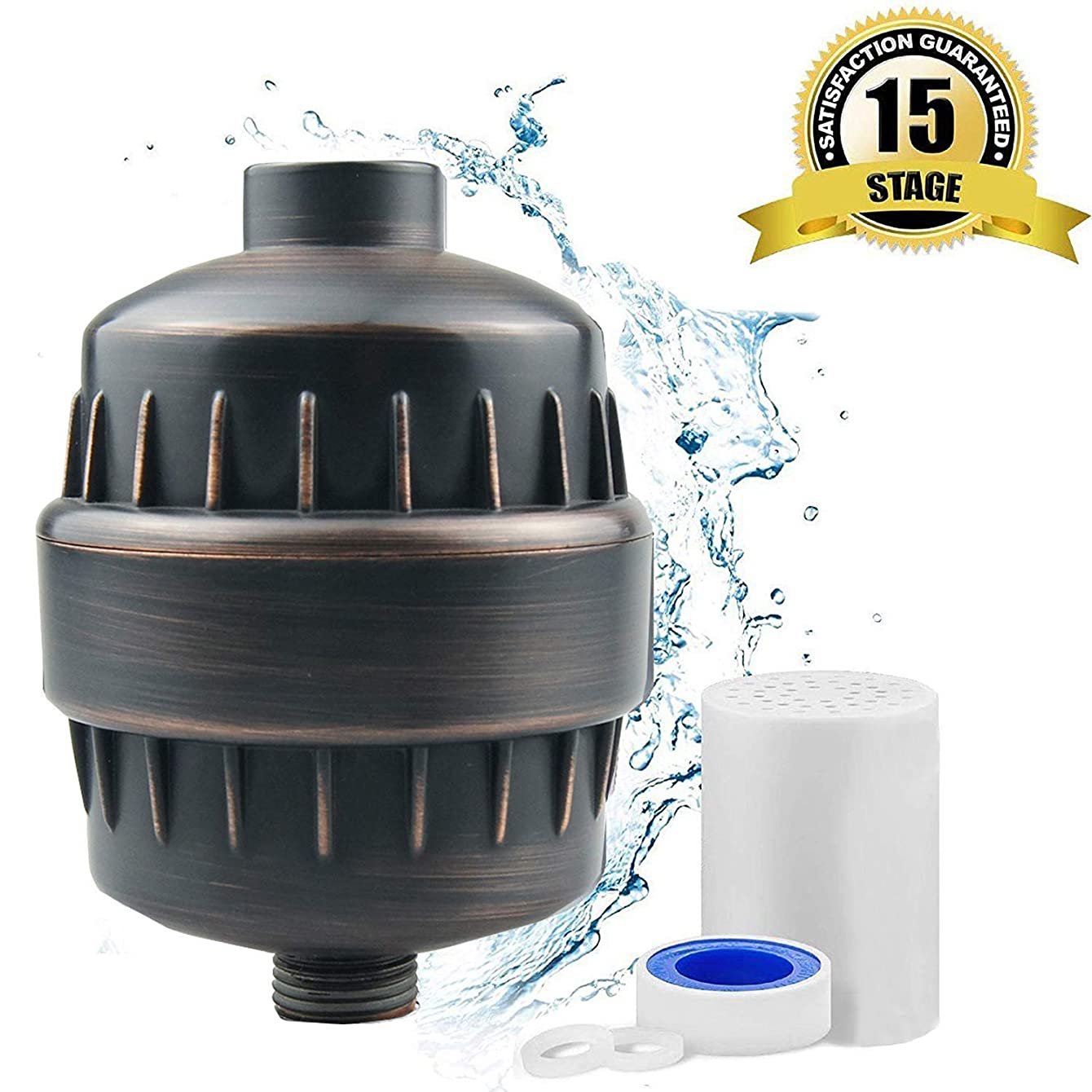 KuRail 15 stage High Output Shower Filter,Universal Oil Rubbed Bronze Shower Head Filter,Water Softener with Free Teflon Tape