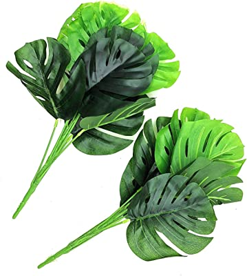SATYAM KRAFT Artificial Palm Leaves 2 Bunch, Green (37 cm)