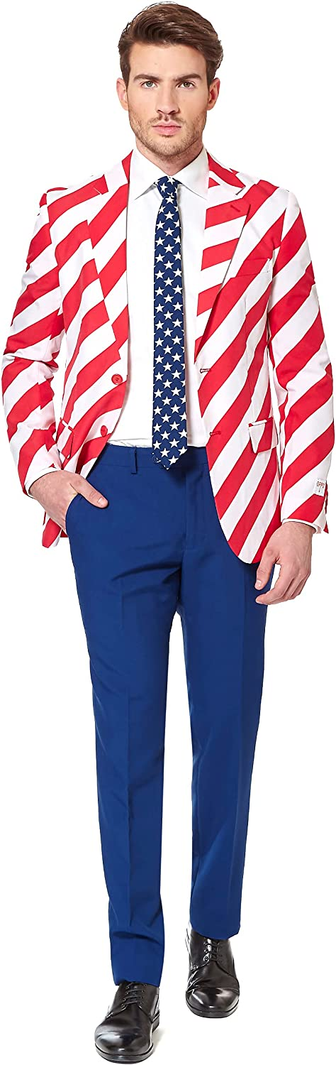 OppoSuits Men American Flag Suit - USA Outfit for the 4th of Jul