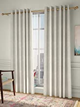 Curtain Label Set of 2- Curtain Label Pazzaz Jacquard Eyelet Pleat Curtain (Cream, 4.5 X 9 feet (W X H))
