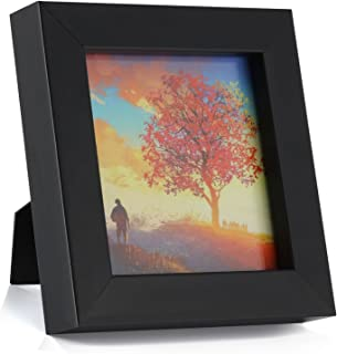 ONE WALL 1PCS 4x4 Black Picture Frame Clear Glass Well Packed (Window 3.6x3.6), Wood Photo Frame for Wall and Tabletop - Wall Mounting Hardware Included