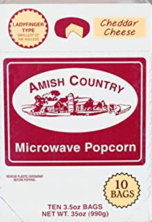 Amish Country Popcorn - Cheddar Cheese Microwave (10 Bags) Ladyfinger Popcorn -Old Fashioned - Gluten Free, and Non GMO - with Recipe Guide
