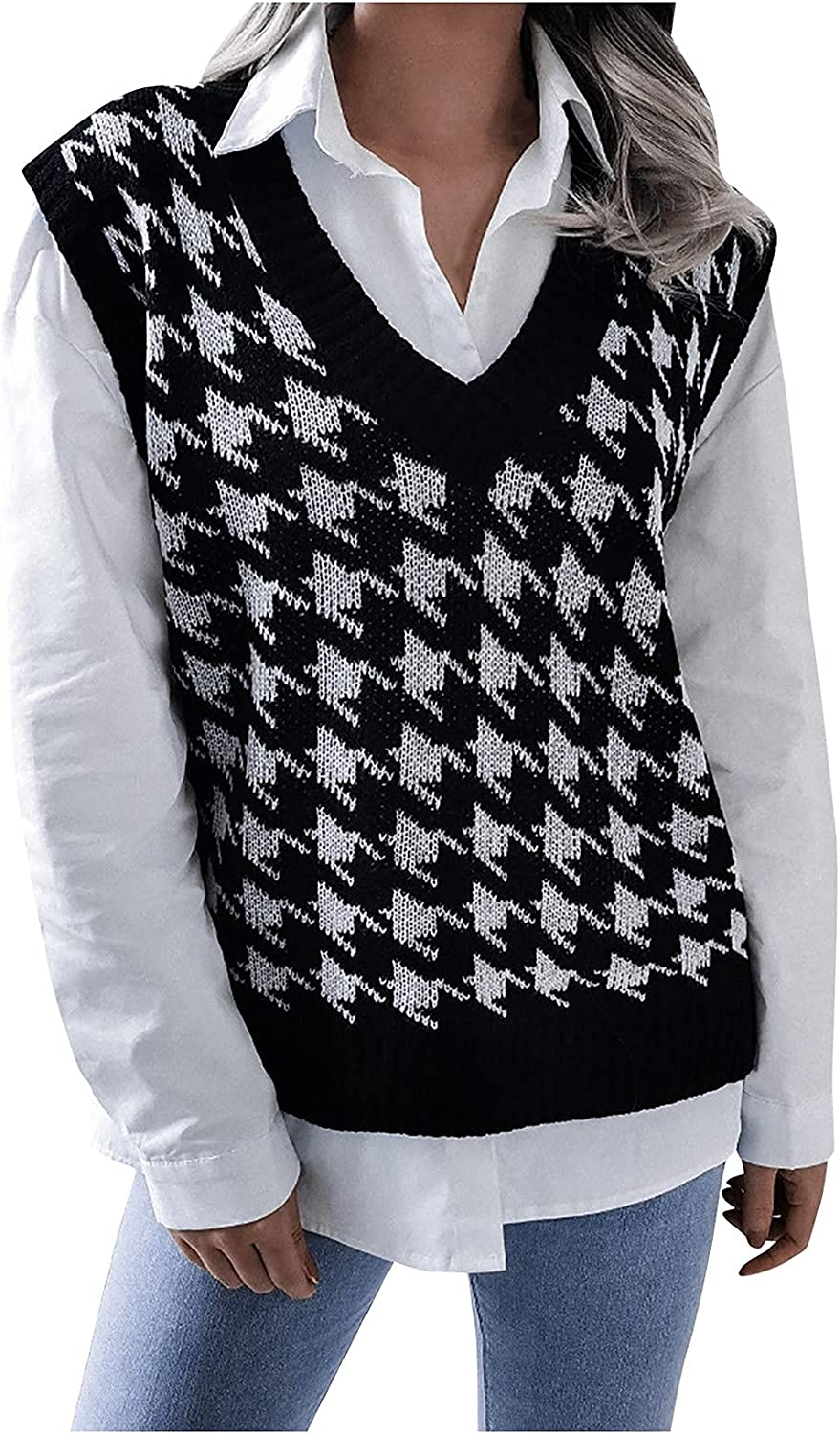 Sweater Vest Women College Style Houndstooth Print Casual Loose Knit V-Neck Hollow Sweaters Tops