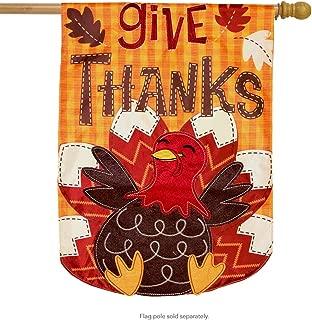 Briarwood Lane Turkey Thanksgiving Applique House Flag Holiday 28